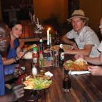 Abendessen im Cafe Zambesi mit T-Bag und zwei Frankfurtern